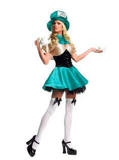 Mad Hatter Halloween Costume from Alice in Wonderland.  Sexy Halloween Costume ideas with a rich emerald green dress.