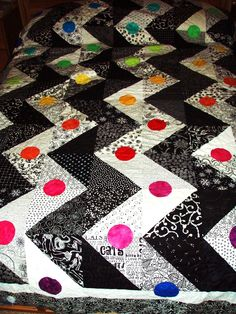 """Black and White Zigzag Pattern with a Rainbow of Hand Dyed """"Buttons"""""""