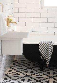 Capree Kimball - bathrooms - Kohler Reve Sink, Kohler Brushed Gold Purist Faucet, black and white floor tile, graphic black and white floor ...