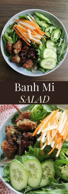Banh Mi Salad - the traditional Vietnamese Banh Mi sandwich is reinvented in this healthy salad recipe. gluten free and low carb Banh Mi Sandwich, Salad Sandwich, Cocinas Kitchen, Vietnamese Cuisine, Vietnamese Banh Mi, Vietnamese Sandwich, Healthy Salad Recipes, Healthy Vietnamese Recipes, Asian Cooking
