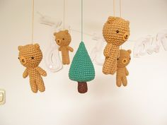 Bear Baby Mobile, Crochet Teddy Bear Nursery Mobile, Wild Animal Mobile…
