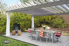 This Trex Transcend composite deck in Island Mist paired with Trex Outdoor Furniture from the Parsons Collection and a Trex Pergola sets the perfect scene for a summer party. Find more inspirational outdoor living spaces at www.Trex.com. #YourNextDeck