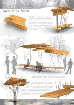 """PFC Mobiliario Urbano """"PAUSA - Marta de la fuente Art and Design                                                                                                                                                                                 Más"""