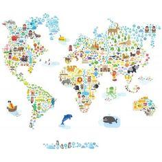 Project Nursery - Pop & Lolli Iconic Cultural World Map Wall Decal - Project Nursery Kids Wall Decals, Art Wall Kids, Wall Stickers, Sticker Vinyl, World Map Wall Decal, Wall Maps, Project Nursery, Nursery Decor, Map Nursery