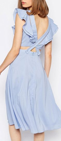 Lost Ink Ruffle Detail Low Back Dress