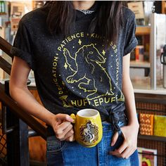 Loyal and kind after a cup of coffee | Harry Potter Hufflepuff Sketch Tee