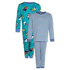 Buy John Lewis Boy Stripe & Gorilla Pyjamas, Pack of 2, Blue/White Online at johnlewis.com