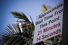 Wait time sign at Point Loma