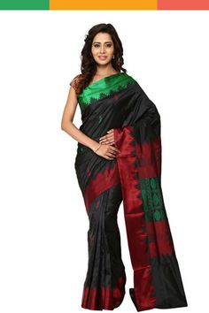 An elegant black silk saree handwoven by the skilled weavers of Khadi Nation. The black body is designed with red and green colour buttas in a diagonal sequence; it has temple design on green and red border on either side. The pallu has mango motifs in green with floral motifs in red on either side. The saree comes with an attached blouse piece.