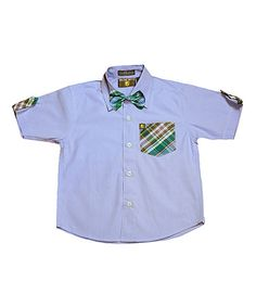 Blue & Green Plaid Button-Up & Bow Tie - Infant, Toddler & Boys   #zulilyfinds