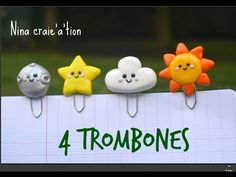 4 trombones kawaii I tuto fimo Polymer Clay Projects, Polymer Clay Creations, Diy Clay, Trombone, Diy And Crafts, Crafts For Kids, Paper Crafts, Fimo Kawaii, Scrapbook Embellishments