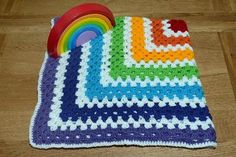 Crochet Rainbow Blanket Large Granny Square for buggy