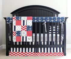 Custom Crib Bedding - Red, Navy Blue, Grey Nautical Bedding