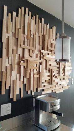 DIY déco murale bois pas cher by bridget Wood Wall Decor, Wood Wall Art, Art Decor, Home Decor, Decor Diy, Wall Decorations, Bois Diy, Wood Mosaic, Mosaic Wall