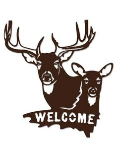 Buck Doe Welcome Sign Brown Metal Wall Art