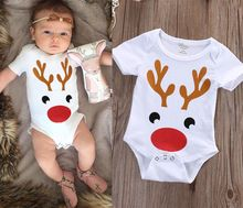 Newborn Baby Kids Boys Girls Jumpsuit Bodysuit Cotton Short Sleeve Christmas Deer Bay Boy Girl Clothing Outfits Set(China (Mainland))