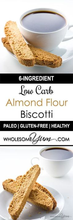 Low Carb Almond Flou Low Carb Almond Flour Biscotti (Paleo Sugar-free) - This paleo low carb biscotti recipe is prepared with almond flour. Now sugar-free gluten-free biscotti can be made easy with only 6 ingredients! Low Carb Sweets, Low Carb Desserts, Gluten Free Desserts, Gluten Free Recipes, Low Carb Recipes, Real Food Recipes, Healthy Recipes, Diet Recipes, Healthy Desserts