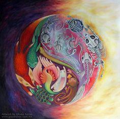 "#ElementEdenArtSearch ""Equilibrium"", oil and pastel on canvas. 1.25x1.25m"