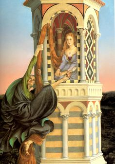 Rapunzel by The Brothers Grimm - Disney famous story of a daughter has long hair. German Fairy Tales, Classic Fairy Tales, Brothers Grimm, Fairytale Art, Lilo Stitch, Children's Book Illustration, Art Illustrations, Faeries, Art Blog