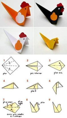 Step by step easy paper origami bird kids craft idea