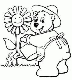 looks like that the gardener bear is very dedicated he is watering a flower of