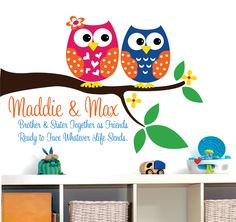 For the kids playroom.  Childrens Wall Decal Brother and sister Owls - Childrens Decor Owl Vinyl Wall lettering Personalized.. $48.00, via Etsy.