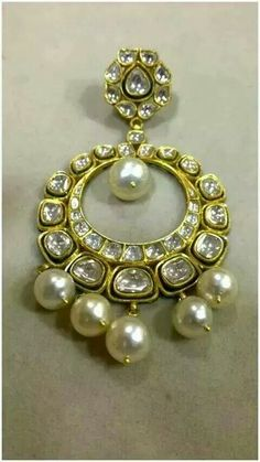 Chand Bali with uncut diamonds and pearls