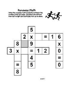 Runaway Math Puzzles Multiplication Math Practice Grades 2-3