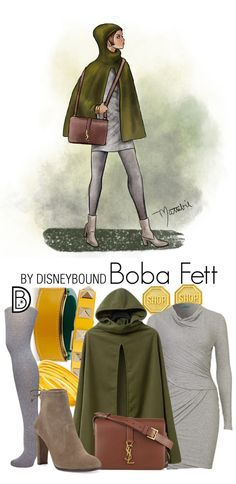 These Star Wars DisneyBound Sketches Are Out of This World - Ideas of Star Wars Outfits - Look chic while channeling bounty hunter Boba Fett. This Star Wars-inspired outfit was created by DisneyBound's Leslie Kay and sketched by artist Matthew Simpson. Star Wars Outfits, Disney Bound Outfits, Themed Outfits, Disney Inspired Fashion, Disney Fashion, Taylor Swift Outfits, Estilo Disney, Character Inspired Outfits, Fandom Fashion