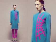 Here we go again with color blocking, the Spring/Summer 2011 trend that juxtaposes contrasting hues. But with her S/S 2013 graduate collection, fashion designer Emily Seul Ki Uhm adds some geometric and decorative variations to the theme.