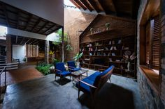 Uncle's House by 3 Atelier « Inhabitat – Green Design, Innovation, Architecture, Green Building Interior Garden, Interior And Exterior, Interior Design, Brick Architecture, Interior Architecture, Atelier Photo, Modern Materials, Decoration, House Design