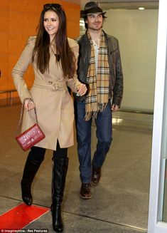 nina dobrev at the airport  | Vampire Diaries co-stars Nina Dobrev and Ian Somerhalder arrive in ...
