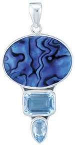 Charles Albert Sterling Silver Blue Abalone and Blue Topaz Pendant.