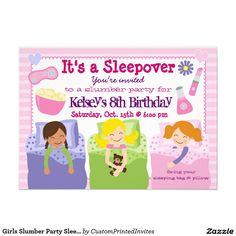 """Girls Slumber Party Sleepover Pajama Invitation 4.5"""" X 6.25""""http://www.zazzle.co.uk/girls_slumber_party_sleepover_pajama_invitation-161729089143446199?rf=238703308182705739  Invitation Card"""