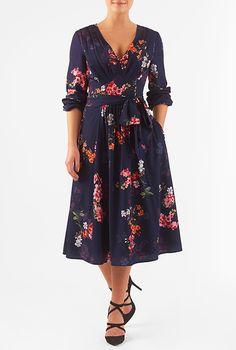 I <3 this Pleated floral print crepe midi dress from eShakti