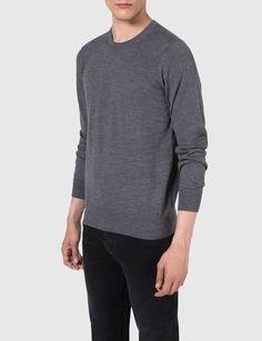 C-NECK FINE MERINO SWEATER, Grey Melange
