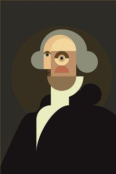 George Washington by Denis Bennett Graphic Illustration, Graphic Art, Illustrations, Modern Art, Contemporary Art, Arte Pop, Geometric Art, Oeuvre D'art, New Art