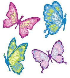 Butterflies Butterfly Clip Art, Butterfly Kisses, Butterfly Design, Butterflies, Cute Embroidery, Butterfly Decorations, Coloring Pages, Crafty, Drawings