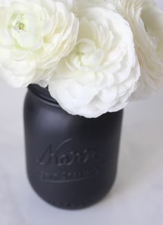 Miss Kris Painted Matte Black Mason Jar DIY DETAIL