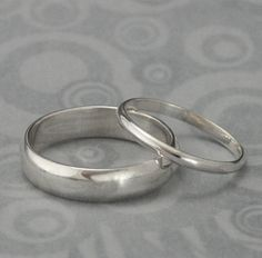 The Perfect Pair--Set of Two Plain Jane Sterling Silver Wedding Rings--Silver Wedding Ring Set custom made for YOU
