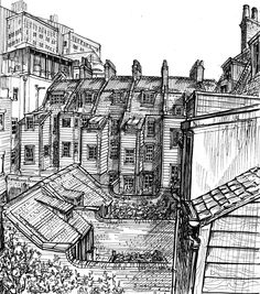 Joanna Moore's sketch of the Walden, Varden and Turner Street Whitechapel houses. I was delighted to kick off the restoration of this group by buying the then derelict 8 Walden Street, and persuading some of my friends to take the plunge thereafter......