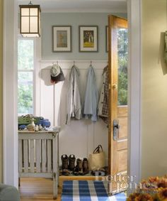 Small mudroom idea - consumes very little space, but is very functional - via BHG