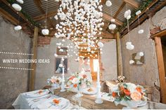 The marshmallow snow decor in this wedding is beautiful, a great decor idea for the holidays, too!