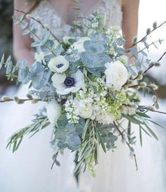 A winter bouquet is a special thing as it's often non-floral and can be created of rather unusual materials. For example, choose a sparkling bouquet of Anemone Bridal Bouquet, Bouquet Bleu, Bouquet Bride, Blue Bridal Bouquets, Blue Hydrangea Bouquet, Spring Wedding Bouquets, Spring Bouquet, Brooch Bouquets, Flower Bouquets