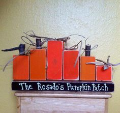 Wooden Pumpkin Patch Family Personalized Blocks