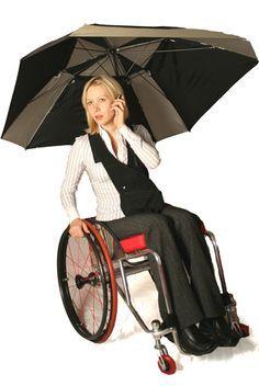 Handsfree umbrella holder for wheelchair users.