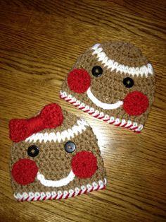 Custom Crochet Christmas Gingerbread Boy and Girl Set Hat/Beanie sizes Newborn - Adult.... Twins So Cute..... $38.00, via Etsy.