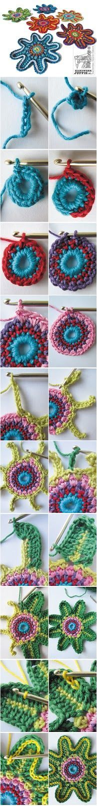 crochet flowers tutorial!! ❥Teresa Restegui http://www.pinterest.com/teretegui/ ❥
