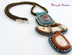 "Raw Pink Opal Bead embroidery Necklace Ethnic by ThezoraArtBijoux Use ""PINTEREST"" coupon at check-out and get 10% OFF!"