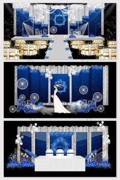Modern minimalist dreamy blue star theme wedding effect picture & Models Decor Elegant Wedding, Dream Wedding, Wedding Reception, Wedding Stage Design, Alice In Wonderland Theme, 3d Models, Wedding Background, Flower Backdrop, Champagne Color